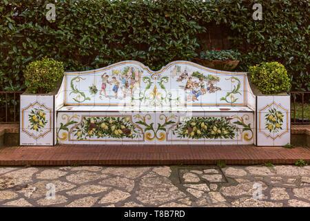 Tiled ceramic bench, Anacapri, Italy - Stock Image