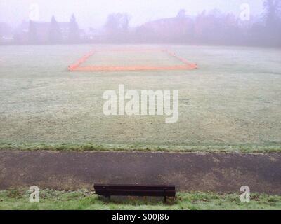 Frosty cricket ground January morning, Haywards Heath, West Sussex - Stock Image