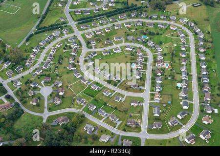 Aerial View Of American Suburb, Pennsylvania, USA - Stock Image
