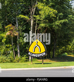 HiCKORY, NC, USA-9/2/18: Roadside sign with logo for KLINGSPOR, a manufacturer of industrial abrasives. - Stock Image