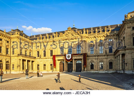 The Residenz in Würzburg is decorated in preparation for filming the 2011 movie, The Three Musketeers. - Stock Image