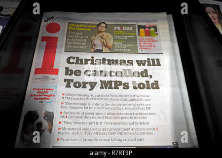 i newspaper Independent front page Brexit headline 'Christmas will be cancelled, Tory MP's told' 30 November 2018 - Stock Image