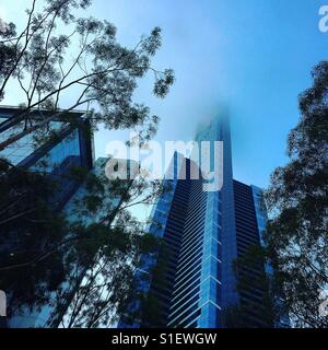 Eureka tower in Melbourne on a foggy morning - Stock Image