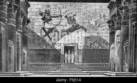 AIDA  the stage setting for Act I, depicting the interior of an Egyptian temple      Date: December 1923 - Stock Image