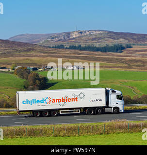 Culina Logistics HGV. Chilled and Ambient food and drink logistics specialists. M6 Northbound carriageway, Shap, Cumbria, England, United Kingdom. - Stock Image