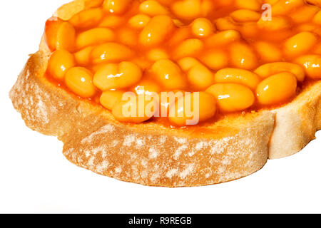 Baked beans on toast, UK. - Stock Image