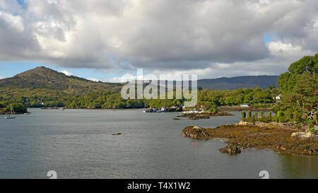 View of Glengarrif Harbour with Shrone Hill - Stock Image