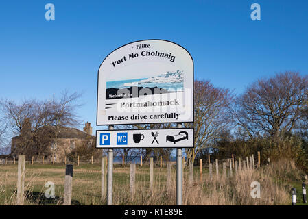 Welcome sign for Portmahomack, Scotland - Stock Image