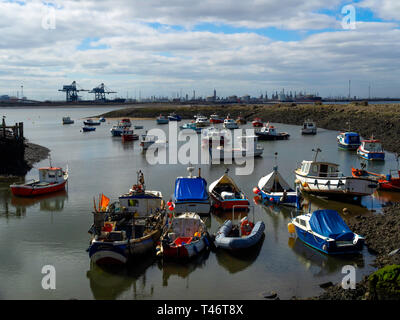 Fishing and pleasure boats in Paddys Hole Harbour, Teesmouth, Redcar Cleveland UK - Stock Image