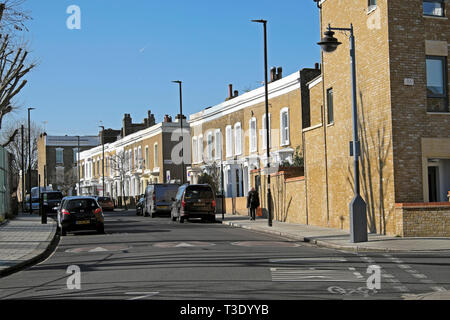 View of terrace houses on Pulross Road in Brixton South London England UK  KATHY DEWITT - Stock Image