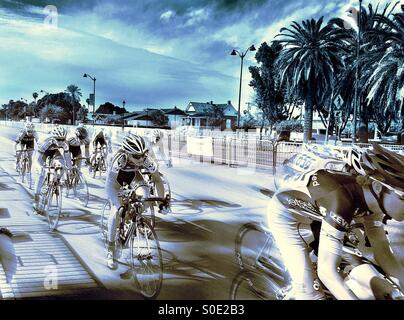 Bicycle race with palm tree background - Stock Image