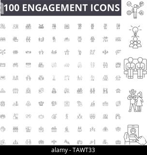 Engagement line icons, signs, vector set, outline illustration concept  - Stock Image