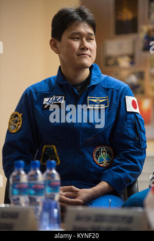 Expedition 54 flight engineer Norishige Kanai of Japan Aerospace Exploration Agency (JAXA) is seen in quarantine, - Stock Image