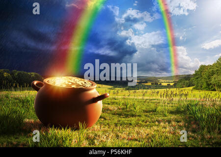 Pot full of gold at the end of the rainbow. - Stock Image
