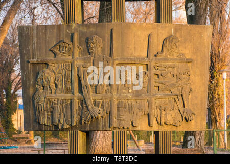 Zagreb, Croatia - December 28th 2018. Detail from the Yugoslavia era communist war memorial located within the Park of the Righteous in the Croatian c - Stock Image