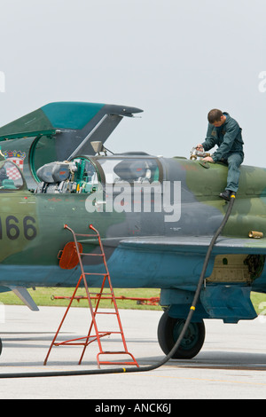 Croatian Air Force MiG-21 BISD fighter being refueled, Pleso AFB during 'open day' visit in 2007 - Stock Image
