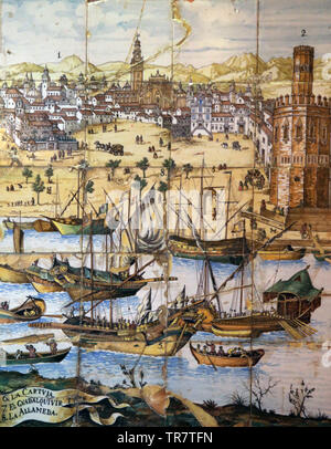 Commercial activity in the Port of Seville. 17th century. Ceramic panel. House of Salinas. Sevilla. Andalusia. Spain. - Stock Image