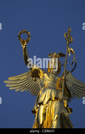 Victory column with new gold , Berlin - Stock Image