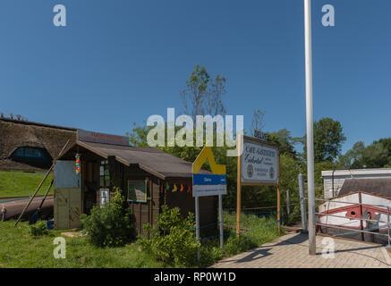 Canoe station, little café, habor master at theEider near Delve, Horst, Eider-TreeneSorge-Niederung, Dithmarschen, Schleswig-Holstein, Germany, Europe - Stock Image