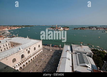 View south from St Marks Bell Tower Venice Italy showing Piazzetta Palazzo Ducale island of San Giorgio and beyond - Stock Image