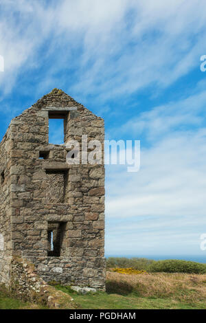 Remains of tin mine workings in Cornwall, England, UK - Stock Image