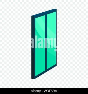 Blue glass door icon, cartoon style - Stock Image