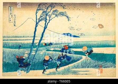 Katsushika Hokusai , Ejiri in Suruga Province (Sunshu Ejiri), print, c. 1830-32 - Stock Image