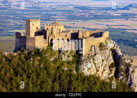 Loarre castle, near Loarre, Huesca Province, Aragon, Spain.  The Romanesque castle is amongst Spain's oldest, dating mostly from the 11th and 12th cen - Stock Image
