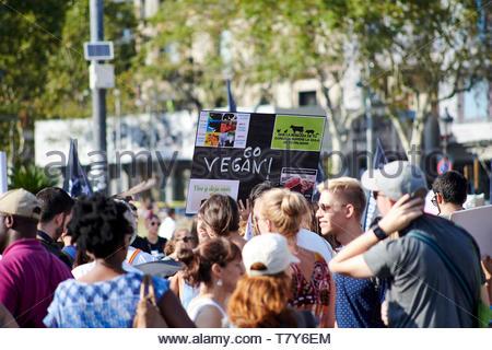 Vegan demonstration in Placa Catylania Street in the City of Barcelona in Catalunya in Spain in Europe - Stock Image