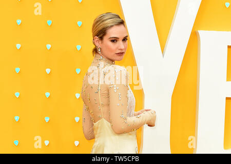 Lily James attends the UK Premiere of 'Yesterday' at the Odeon Luxe in Leicester Square, London, England. - Stock Image