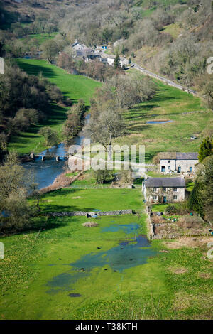 Monsal Dale and the River Wye in the Derbyshire Dales. - Stock Image