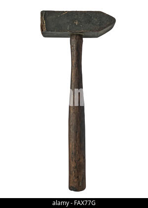 vintage wooden hammer isolated over white background - Stock Image
