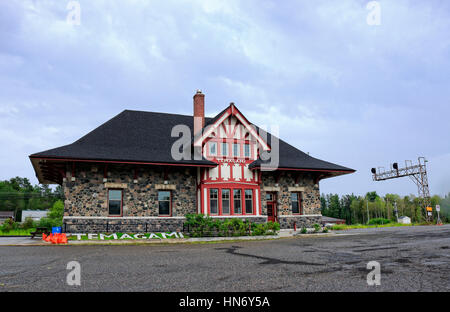 Temagami Railway Station was originally built in 1907 by the then Temiskaming and Northern Ontario Railway. The - Stock Image