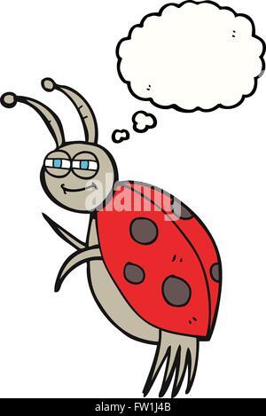 freehand drawn thought bubble cartoon ladybug - Stock Image