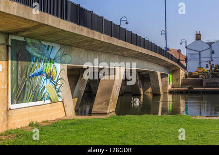River Ouse Road bridge,St Neots town centre high street Cambridgeshire, England, gb,uk - Stock Image