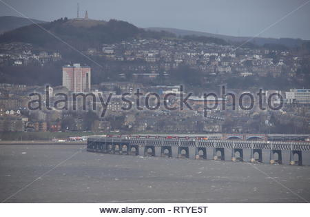 High speed LNER train crossing Tay Rail Bridge Scotland  February  2019 - Stock Image