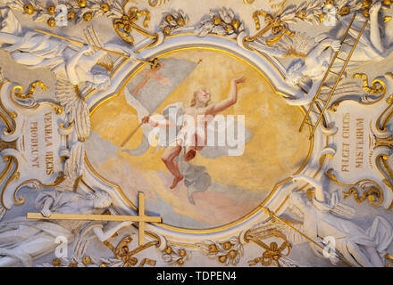 COMO, ITALY - MAY 10, 2015: The baroque fresco of Resurrection of Jesus with the instrumenst of passion  in church Chiesa di San Agostino by Morazzone - Stock Image
