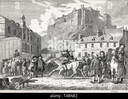 Walter Geikie, Edinburgh Castle and Horse Fair, etching, 1800s YCBA - Stock Image