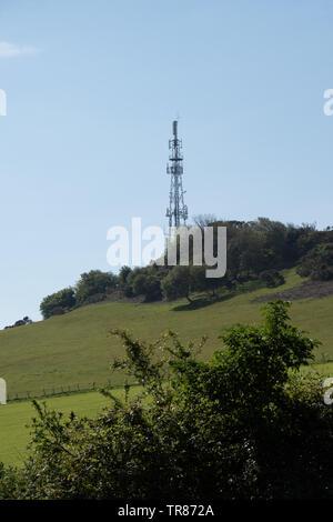 Combe Martin transmitter mast, North Devon. - Stock Image
