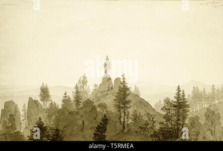 Caspar David Friedrich, Statue of the Madonna in the Mountains, painting, 1804 - Stock Image