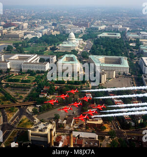 The Red Arrows  ( the Aerobatic display team of the Royal Air Force), flying over  Washington D.C. USA - Stock Image