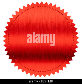 red diploma or certificate metal foil seal isolated on white - Stock Image