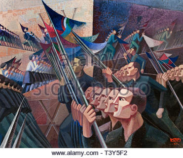 Politoco della rivoluzionne fascita - Politician of the fascist revolution 1934 Gerardo Dottori born in 1884 Italian Futurist painter, Italy. - Stock Image