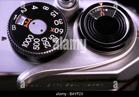 Asahi Pentax Spotmatic II shutter button, speed dial/iso selector, frame counter and film advance lever - Stock Image