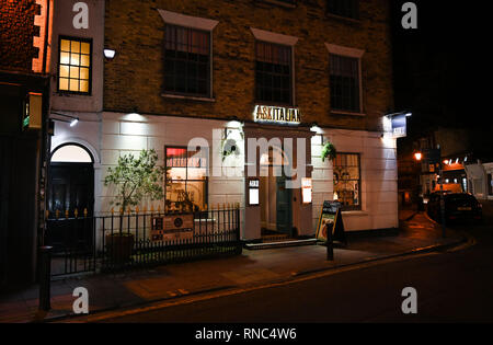 Brighton Views at night - Ask Italian restaurant in The Lanes district - Stock Image