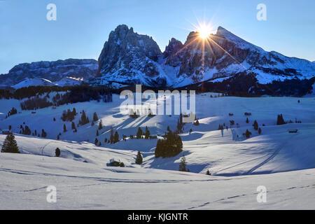 Winter sunrise over Alpe di Siusi with view on Sassolungo and Sassopiatto, Dolomites, Italy - Stock Image
