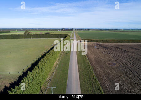 Road moved 4 metres sideways across fault line after earthquake, 4th September 2010, near Darfield, Canterbury, South Island, New Zealand - aerial - Stock Image