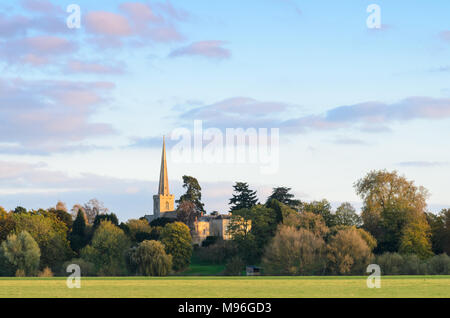 St Giles Church in Bredon as seen from nearby Twyning - Stock Image