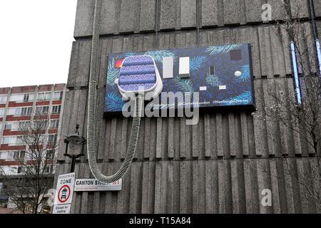 Electrical oversized plug artwork near Carnaby Street on Ganton Street in London England W1  KATHY DEWITT - Stock Image