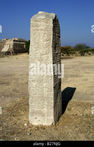 Stela 9, the Archaeological Site at Monte Alban, near Oaxaca City, Oaxaca, Mexico - Stock Image